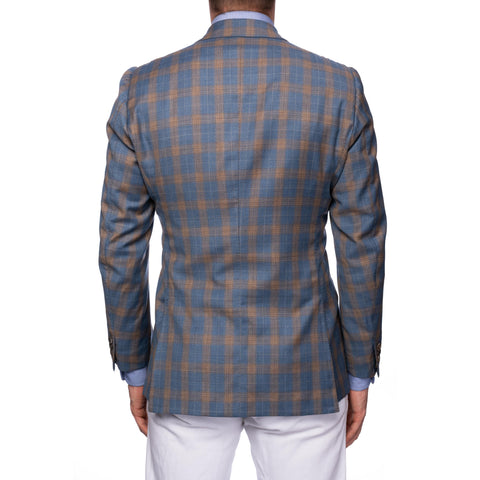 RUBINACCI Bespoke Blue Plaid Wool-Cashmere Jacket Sport Coat EU 50 NEW US 40