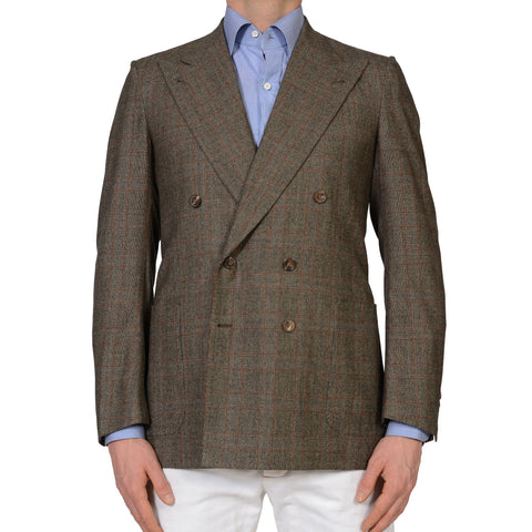 RUBINACCI Bespoke Gray Plaid Wool Flannel DB Blazer Jacket EU 50 NEW US 38 40