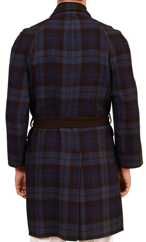 RUBINACCI Brown & Blue Plaid Cashmere Reversible OverCoat Coat NEW - SARTORIALE - 6