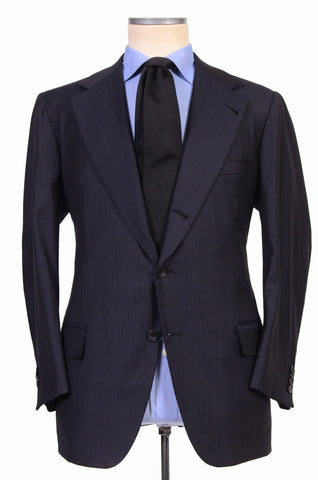 RUBINACCI Hand Made Bespoke Navy Blue Striped Super 140's Wool Suit 54 NEW US 44 - SARTORIALE - 1