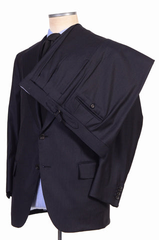 RUBINACCI Hand Made Bespoke Navy Blue Striped Super 140's Wool Suit 54 NEW US 44 - SARTORIALE - 3