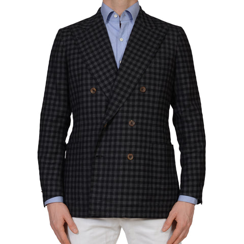 RUBINACCI Handmade Bespoke Gray Plaid Wool DB Blazer Jacket EU 50 US 38 40