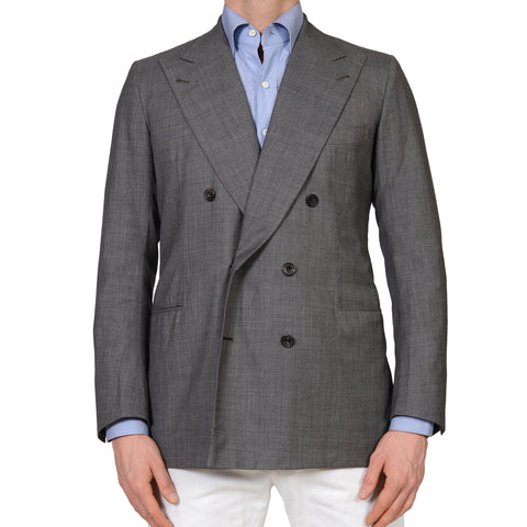 RUBINACCI Handmade Bespoke Gray Wool DB Blazer Jacket EU 50 NEW US 38 40
