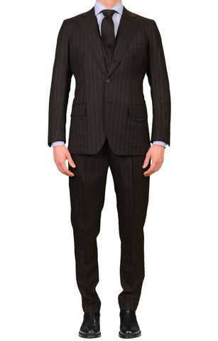RUBINACCI LH Bespoke Black Striped Wool Super 120s 3 Piece Suit EU 48 NEW US 38