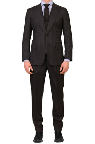 RUBINACCI LH Bespoke Dark Gray Striped Super 120's Peak Lapel Suit 48 NEW US 38