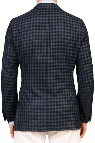 RUBINACCI LH Bespoke Hand-Stitched Blue Plaid Wool Cashmere Jacket 50 NEW US 40