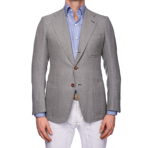 RUBINACCI LH Bespoke Hand Made Gray Wool Linen Silk Blazer Jacket EU 50 US 40