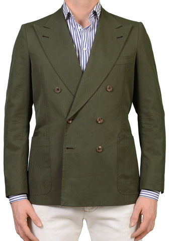 RUBINACCI LH Bespoke Hand Made Olive Cotton DB Blazer Jacket EU 50 NEW US 40