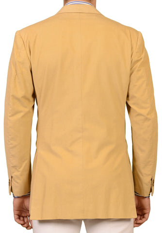 RUBINACCI LH Hand Made Bespoke Beige Corduroy Cotton Cashmere Jacket 52 NEW 42