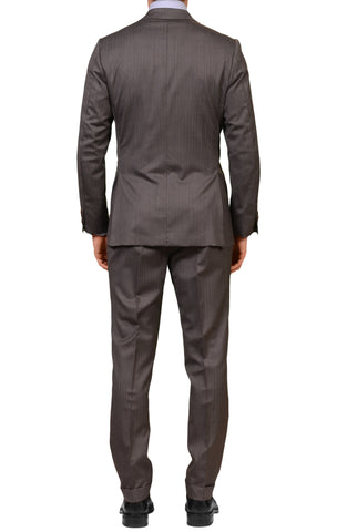 RUBINACCI LH Hand Made Bespoke Gray Herringbone Super 150s Wool Suit 48 NEW 38