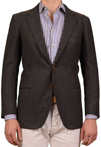 RUBINACCI LH Hand Made Bespoke Gray Wool Flannel Blazer Jacket EU 50 US 40