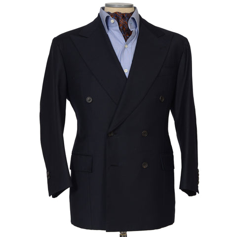 RUBINACCI LH Hand Made Bespoke Navy Blue Wool DB Blazer Jacket 50 NEW 40 Short