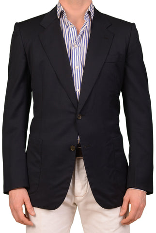 RUBINACCI LH Hand Made Bespoke Navy Blue Wool Jacket Blazer EU 50 US 40