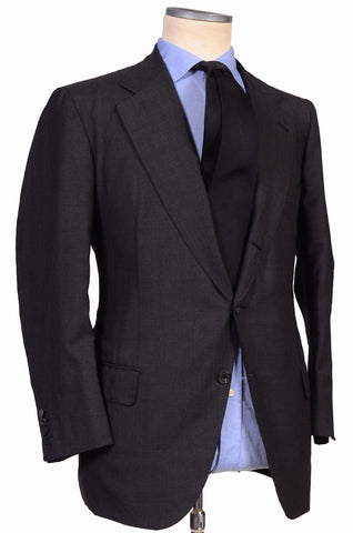 RUBINACCI LH Hand Made Bespoke Solid Gray Wool-Silk Business Suit 54 NEW US 44 - SARTORIALE - 1