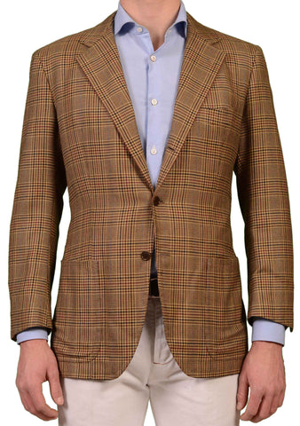 RUBINACCI LH Hand Made Bespoke Tan Prince of Wales Cashmere Jacket EU 52 US 42