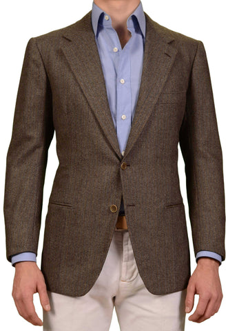RUBINACCI LH Hand Made Bespoke Taupe Herringbone Wool Tweed Jacket 50 NEW US 40