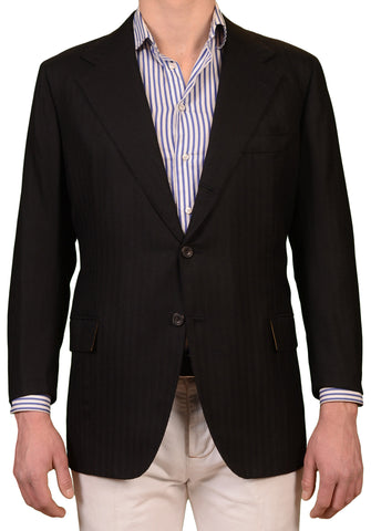 RUBINACCI LH Hand Made Bespoke Black Herringbone Cashmere Jacket 56 NEW 46