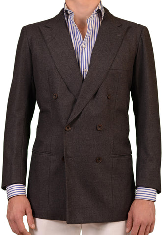 RUBINACCI LH Hand Made London House Bespoke Gray Flannel Wool Jacket 50 NEW 40 - SARTORIALE - 1