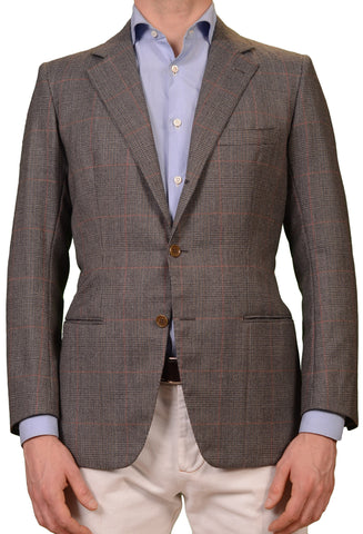 RUBINACCI LH Hand Made Bespoke Gray Prince of Wales Wool Jacket EU 48 NEW US 38