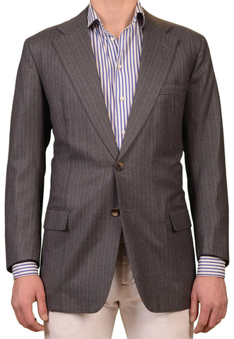 RUBINACCI LH Hand Made Bespoke Gray Striped Wool Blazer Jacket EU 52 NEW US 42