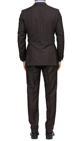 RUBINACCI LH Hand Made Bespoke Gray Striped Wool Mohair Suit EU 48 NEW US 38