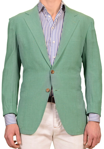 RUBINACCI LH Hand Made Bespoke Mint Green Wool Fresco Blazer Jacket 52 NEW US 42