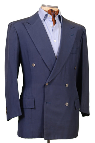 RUBINACCI LH Hand Made Bespoke Blue Silk DB Jacket Blazer 50 NEW US 38 40 Short