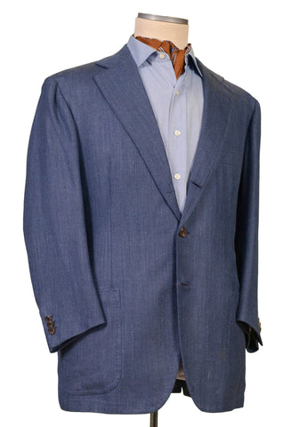 RUBINACCI LH Hand Made Bespoke Blue Herringbone Wool Linen Jacket 56 NEW 46Short