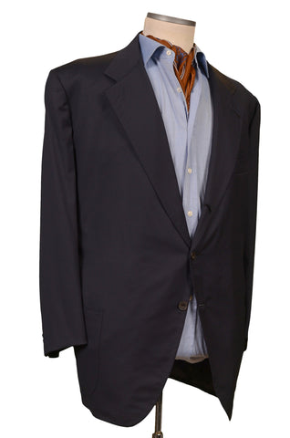 RUBINACCI LH Hand Made Bespoke Navy Blue Wool Jacket Blazer EU 60 NEW US 50