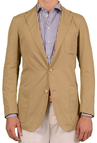 RUBINACCI LH Solid Tan Cotton Blazer Jacket EU 50 NEW US 40 Martin Gala - SARTORIALE - 1