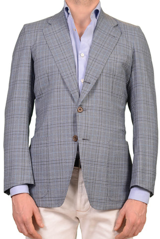 RUBINACCI LH Bespoke Blue Plaid Wool Cashmere Cotton Blazer Jacket 50 NEW 40