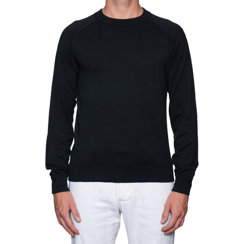 RUBINACCI Napoli Black Garment Dyed Cotton Crewneck Ribbed Sweater NEW