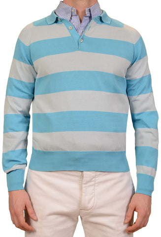 RUBINACCI Napoli Blue Striped Cotton Ribbed Polo Sweater NEW