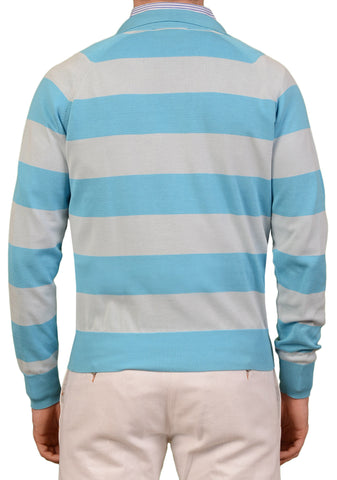 RUBINACCI Napoli Blue Striped Cotton Ribbed Polo Sweater NEW With Defect