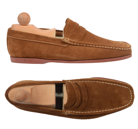"RUBINACCI Napoli ""Boat Mocassin"" Brown Suede Loafer Moccasin Shoes NEW US 7"