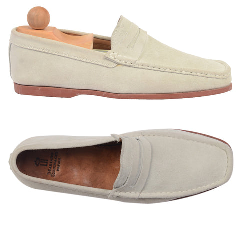 "RUBINACCI Napoli ""Boat Mocassin"" Sand Suede Loafer Moccasin Shoes NEW US 9"