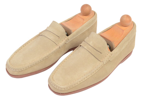 "RUBINACCI Napoli ""Boat Moccasin"" Tan Suede Loafer Casual Shoes NEW"