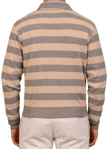 RUBINACCI Napoli Gray-Beige Striped Cashmere Ribbed Polo Sweater EU 48 NEW US S