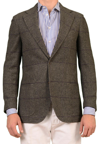 RUBINACCI Napoli Gray Plaid Cashmere Blazer Soft Jacket US NEW - SARTORIALE - 1