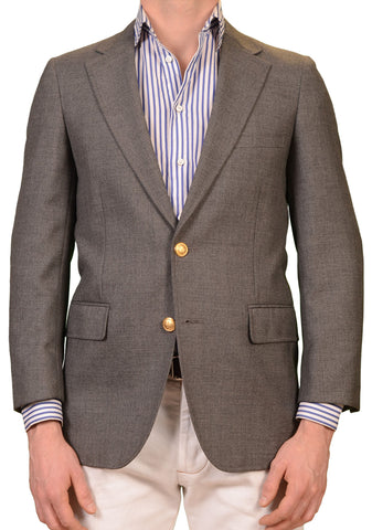 MARIANO RUBINACCI Napoli Gray Wool-Poly Brass Button Jacket Blazer 46 NEW 36