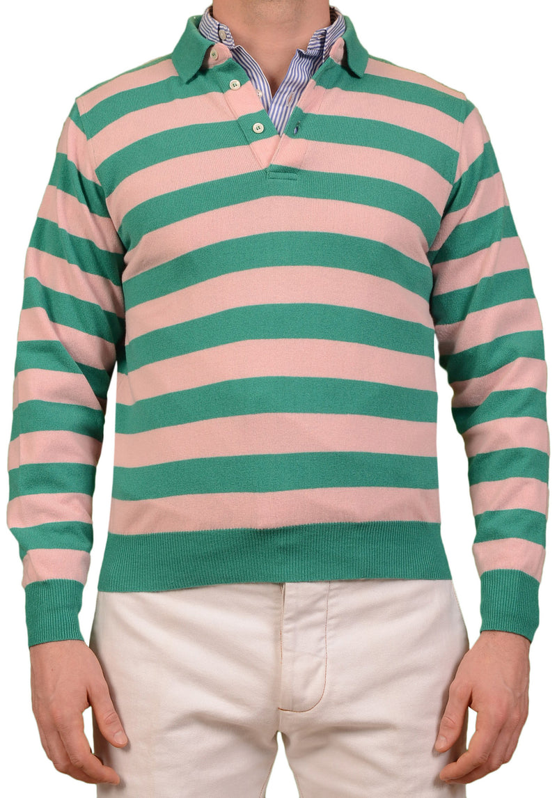 RUBINACCI Napoli Green-Pink Striped Cashmere Ribbed Polo Sweater NEW