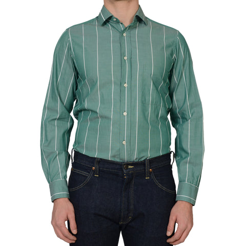 RUBINACCI Napoli Green Striped Cotton Dress Shirt EU 40 NEW US 15.75