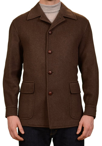 RUBINACCI Napoli Italy Brown Cashmere - Wool Jacket Coat US M NEW EU 50