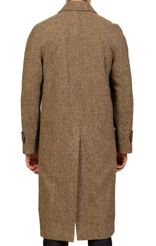 RUBINACCI Napoli Italy Brown Donegal Wool Long OverCoat Coat US 40 NEW EU 50