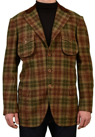 RUBINACCI Napoli Italy Green Plaid Wool Tweed Jacket Coat EU 56 NEW US 46