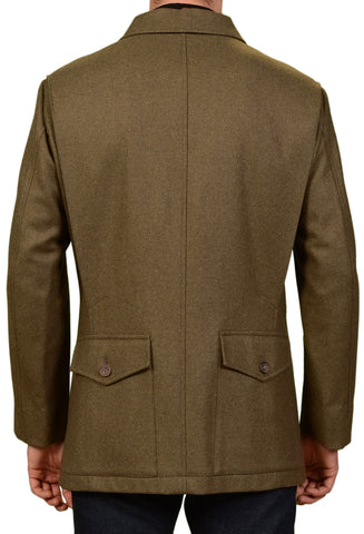 RUBINACCI Napoli Italy Khaki Wool Fleece Basic Jacket Coat US 42 L NEW EU 52