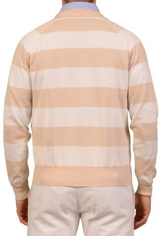 RUBINACCI Napoli Beige-White Striped Cotton Ribbed Polo Sweater NEW