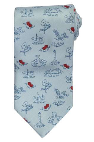 RUBINACCI Napoli Made In Italy Blue Bird & Floral Pattern Silk Classic Tie NEW