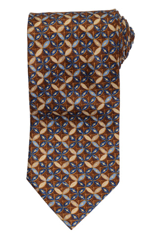 RUBINACCI Napoli Made In Italy Brown Floral Pattern Silk Classic Tie NEW