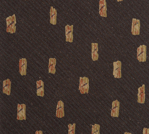 RUBINACCI Napoli Made In Italy Brown Silk Classic Tie NEW
